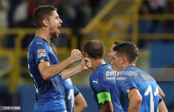 Jorginho of Italy celebrates after scoring the equalizer during the UEFA Nations League A group three match between Italy and Poland at Stadio Renato...