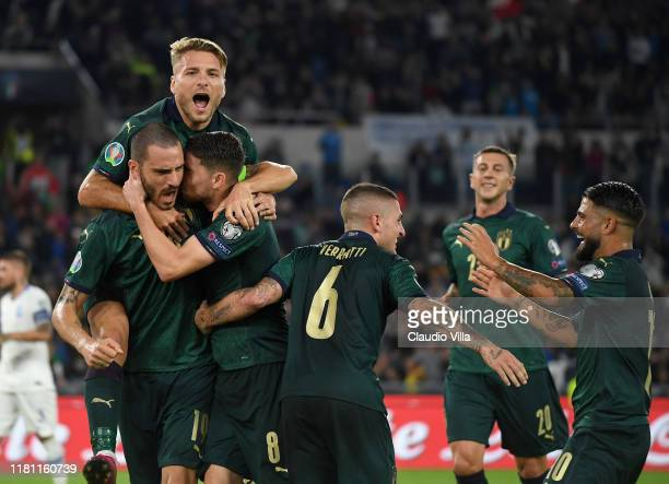 Jorginho of Italy celebrates after scoring the opening goal during the UEFA Euro 2020 qualifier between Italy and Greece on October 12, 2019 in Rome,...