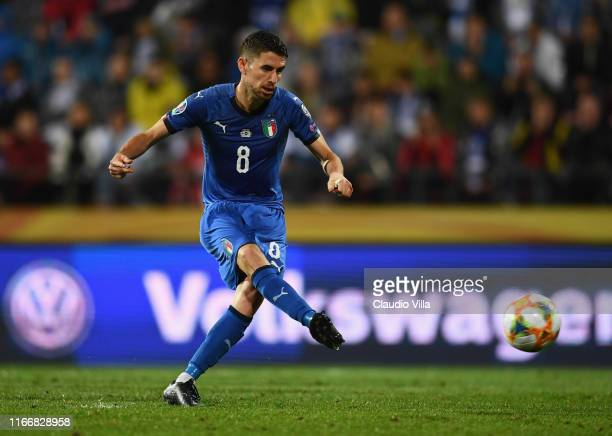 Jorginho of Italy celebrates after scoring the second goal during the UEFA Euro 2020 qualifier between Finland and Italy at Tampere stadium on...
