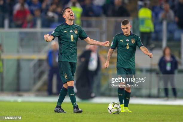 Jorginho of Italy celebrates after winning the UEFA Euro 2020 qualifier between Italy and Greece on October 12, 2019 in Rome, Italy.
