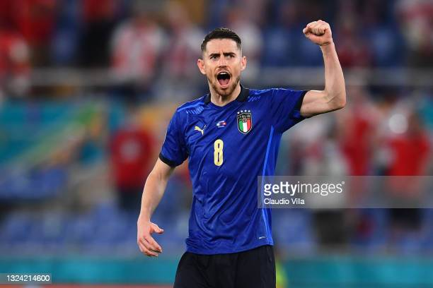 Jorginho of Italy celebrates at the end of the UEFA Euro 2020 Championship Group A match between Italy and Switzerland at Olimpico Stadium on June...