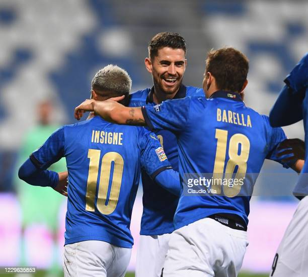 Jorginho of Italy celebrates during the UEFA Nations League group stage match between Italy and Poland at Mapei Stadium - Citta' del Tricolore on...