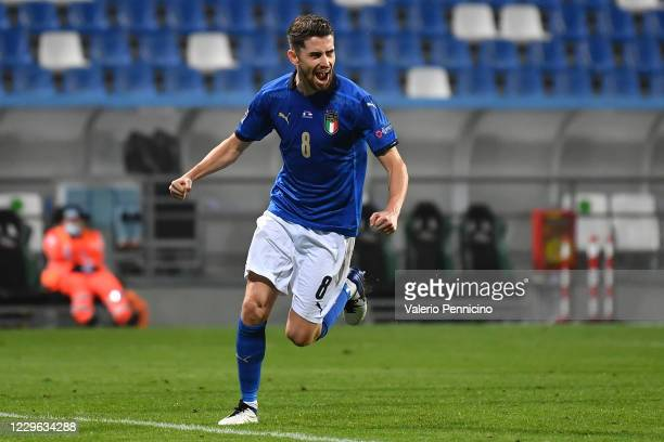 Jorginho of Italy celebrates the opening goal from the penalty spot during the UEFA Nations League group stage match between Italy and Poland at...