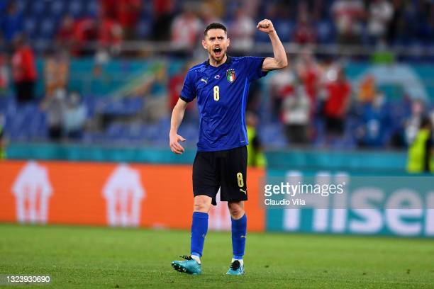 Jorginho of Italy celebrates their side's victory after the UEFA Euro 2020 Championship Group A match between Italy and Switzerland at Olimpico...