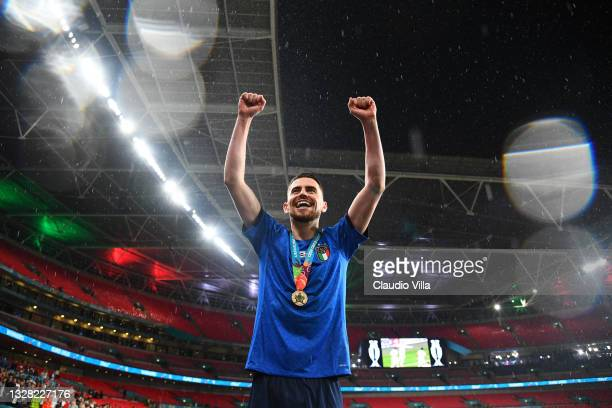 Jorginho of Italy celebrates their side's victory after the UEFA Euro 2020 Championship Final between Italy and England at Wembley Stadium on July...