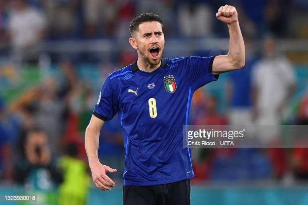 Jorginho of Italy celebrates victory following the UEFA Euro 2020 Championship Group A match between Italy and Switzerland at Olimpico Stadium on...