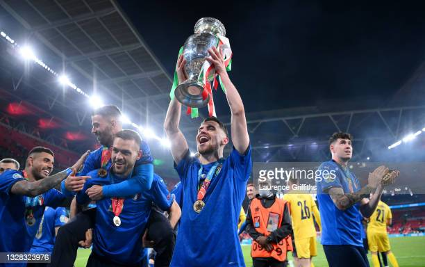 Jorginho of Italy celebrates with the European Championship Trophy whilst celebrating with the fans during the UEFA Euro 2020 Championship Final...
