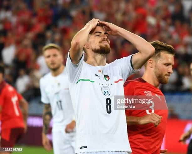 Jorginho of Italy reacts during the 2022 FIFA World Cup Qualifier match between Switzerland and Italy at St Jacob Park on September 05, 2021 in...