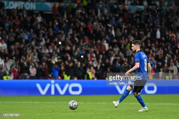 Jorginho of Italy scores their sides winning penalty in the penalty shoot out during the UEFA Euro 2020 Championship Semi-final match between Italy...