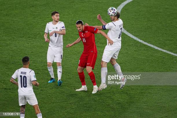 Jorginho of Italy, Yusuf Yazici of Turkey, Giorgio Chiellini of Italy, Lorenzo Insigne of Italy during the UEFA Euro 2020 Group A match between...