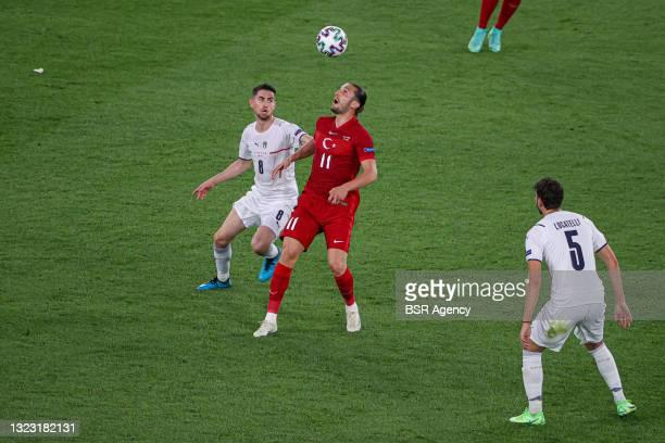 Jorginho of Italy, Yusuf Yazici of Turkey, Manuel Locatelli of Italy during the UEFA Euro 2020 Group A match between Turkey and Italy at Stadio...