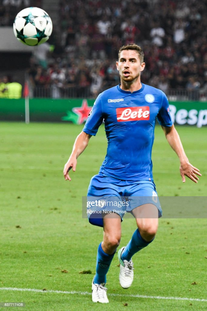 Jorginho of Naples during the UEFA Champions League Qualifying Play-Offs round, second leg match, between OGC Nice and SSC Napoli at Allianz Riviera Stadium on August 22, 2017 in Nice, France.