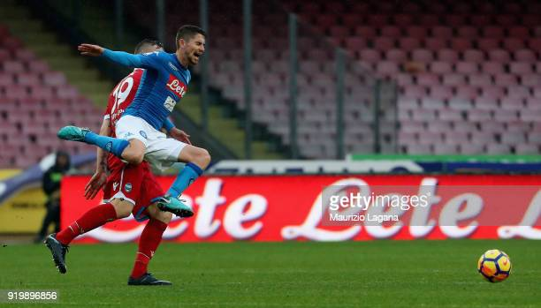 Jorginho of Napoli competes for the ball with Jasmin Kurtic of Spal during the serie A match between SSC Napoli and Spal at Stadio San Paolo on...