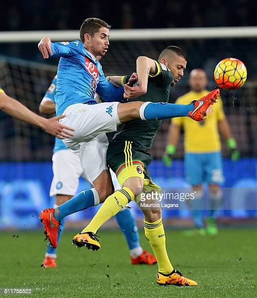 Jorginho of Napoli competes for the ball with Jeremy Menez of Milan during the Serie A between SSC Napoli and AC Milan at Stadio San Paolo on...