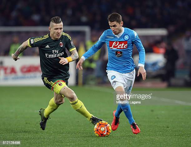 Jorginho of Napoli competes for the ball with Juraj Kucka of Milan during the Serie A between SSC Napoli and AC Milan at Stadio San Paolo on February...