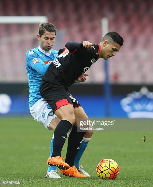 Jorginho of Napoli competes for the ball with Leandro Paredes of Empoli during the Serie A match between SSC Napoli and Empoli FC at Stadio San Paolo...