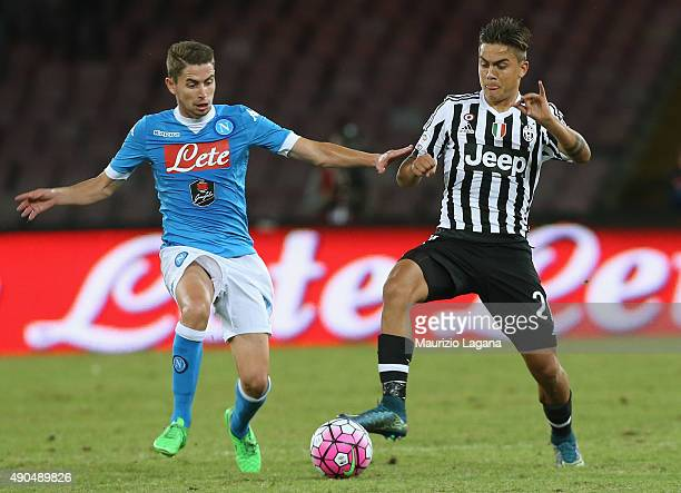 Jorginho of Napoli competes for the ball with Paulo Dybala of Juventus during the Serie A match between SSC Napoli and Juventus FC at Stadio San...