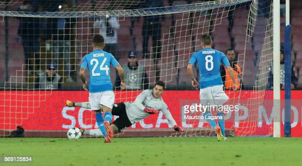 Jorginho of Napoli scores his tema's second goal with penalty during the UEFA Champions League group F match between SSC Napoli and Manchester City...