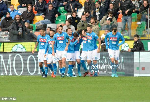 Jorginho of SSC Napoli celebrates after scoring his opening goal during the Serie A match between Udinese Calcio and SSC Napoli at Stadio Friuli on...