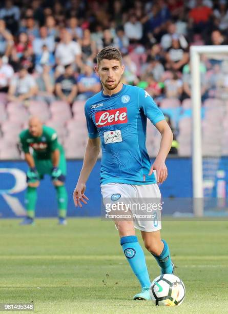 Jorginho of SSC Napoli controls the ball during the serie A match between SSC Napoli and FC Crotone at Stadio San Paolo on May 20 2018 in Naples Italy