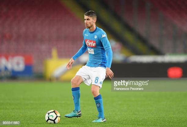 Jorginho of SSC Napoli drives the ball during the serie A match between SSC Napoli v Genoa CFC at Stadio San Paolo on March 18 2018 in Naples Italy