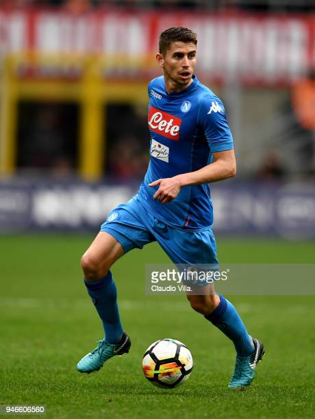 Jorginho of SSC Napoli in action during the serie A match between AC Milan and SSC Napoli at Stadio Giuseppe Meazza on April 15 2018 in Milan Italy