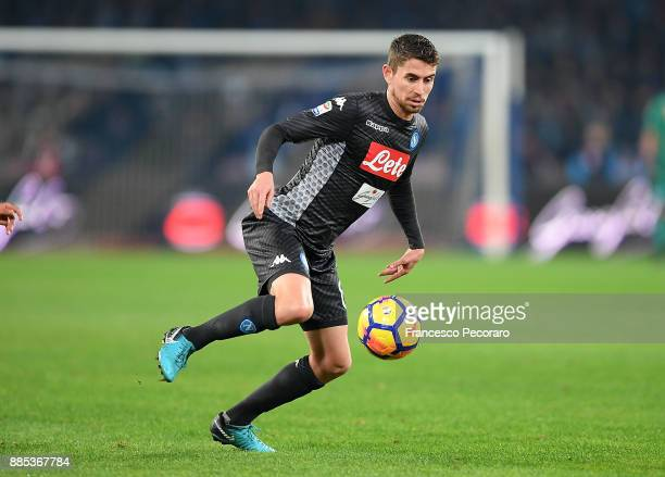 Jorginho of SSC Napoli in action during the Serie A match between SSC Napoli and Juventus at Stadio San Paolo on December 1 2017 in Naples Italy