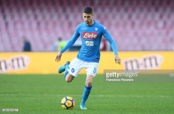 Jorginho of SSC Napoli in action during the serie A match between SSC Napoli and Bologna FC at Stadio San Paolo on January 28 2018 in Naples Italy