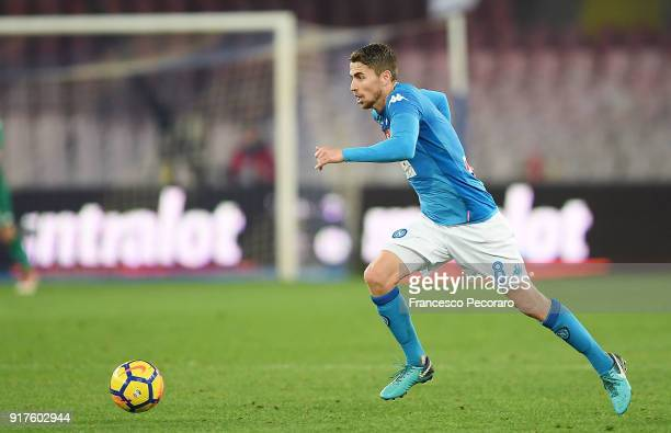 Jorginho of SSC Napoli in action during the serie A match between SSC Napoli and SS Lazio at Stadio San Paolo on February 10 2018 in Naples Italy