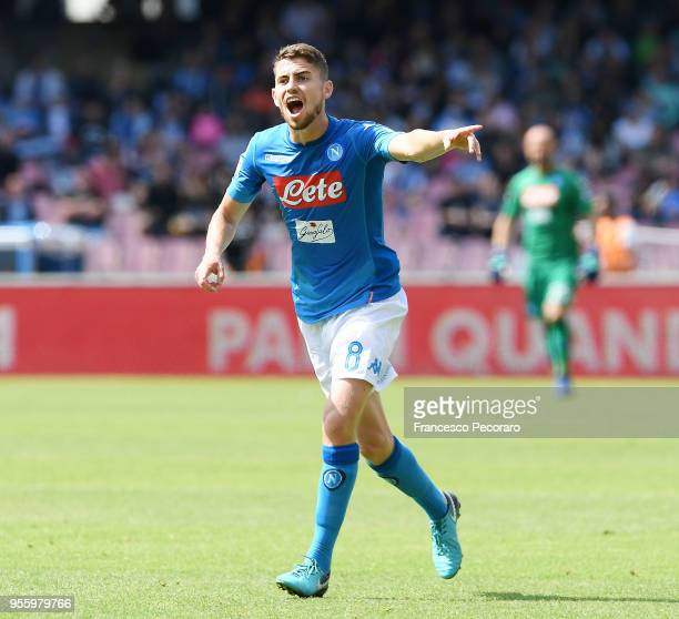 Jorginho of SSC Napoli in action during the serie A match between SSC Napoli and Torino FC at Stadio San Paolo on May 6 2018 in Naples Italy