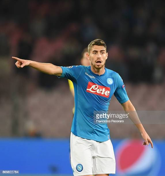 Jorginho of SSC Napoli in action during the UEFA Champions League group F match between SSC Napoli and Manchester City at Stadio San Paolo on...