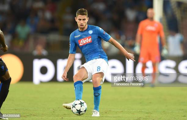 Jorginho of SSC Napoli in action during the UEFA Champions League Qualifying PlayOffs Round First Leg match between SSC Napoli and OGC Nice at Stadio...