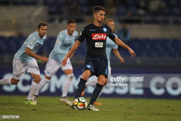 Jorginho of SSC Napoli scores the team's fourth goal from penalty spot during the Serie A match between SS Lazio and SSC Napoli at Stadio Olimpico on...