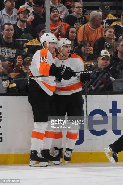 Jori Lehtera and Valtteri Filppula of the Philadelphia Flyers celebrate a goal against the Boston Bruins at the TD Garden on March 8 2018 in Boston...