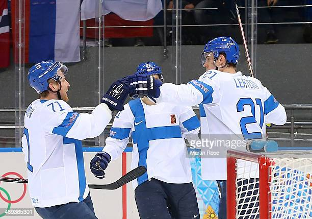 Jori Lehtera of Finland celebrates after scoring a goal in the first period against Norway during the Men's Ice Hockey Preliminary Round Group B game...