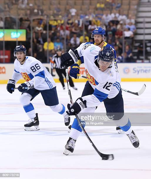 Jori Lehtera of Team Finland fires a slapshot against Team Sweden during the World Cup of Hockey 2016 at Air Canada Centre on September 20 2016 in...