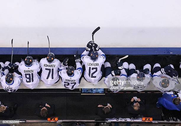 Jori Lehtera of Team Finland watches ten action form the bench during the World Cup of Hockey game against Team Sweden at Air Canada Centre on...