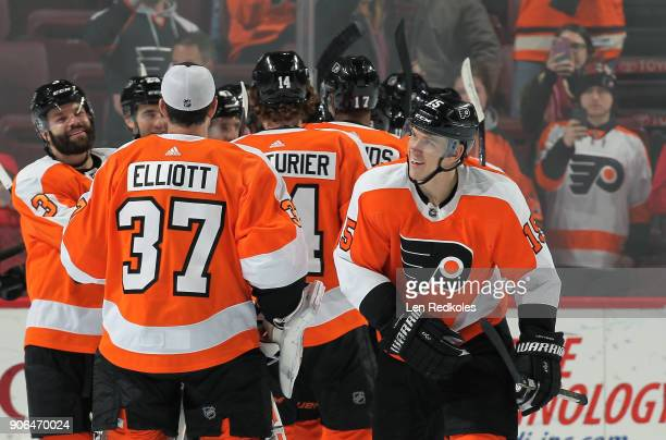 Jori Lehtera of the Philadelphia Flyers celebrates with teammates after defeating the Buffalo Sabres 41 on January 7 2018 at the Wells Fargo Center...