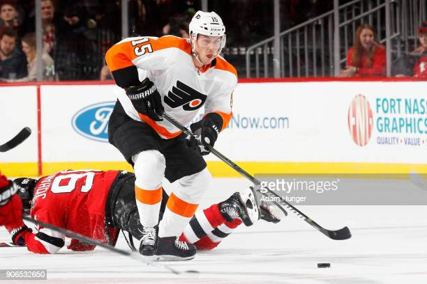 Jori Lehtera of the Philadelphia Flyers in action against the New Jersey Devils during the third period at the Prudential Center on January 13 2018...