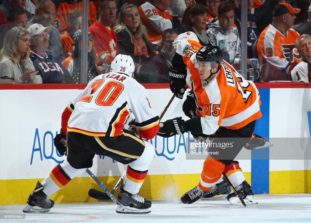 Jori Lehtera #15 of the Philadelphia Flyers skates against the Calgary Flames at the Wells Fargo Center on November 18, 2017 in Philadelphia, Pennsylvania. The Flames defeated the Flyers 5-4 in overtime.