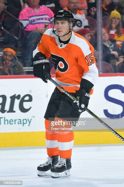 Jori Lehtera of the Philadelphia Flyers skates against the Florida Panthers at the Wells Fargo Center on October 16, 2018 in Philadelphia,...