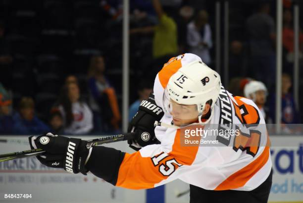 Jori Lehtera of the Philadelphia Flyers skates in warmups prior to the game against the New York Islanders at the Nassau Veterans Memorial Coliseum...