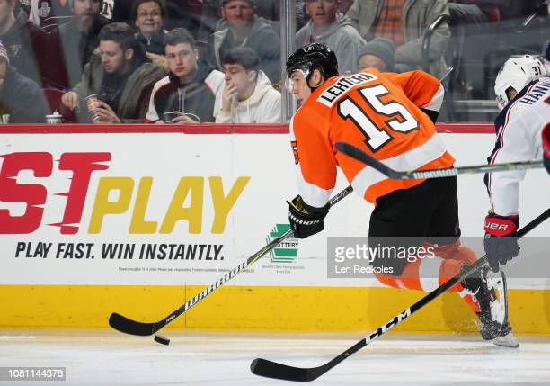 Jori Lehtera of the Philadelphia Flyers skates the puck against the Columbus Blue Jackets on December 6, 2018 at the Wells Fargo Center in...