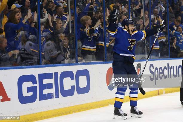 Jori Lehtera of the St. Louis Blues celebrates after scoring a goal against the Nashville Predators in Game Two of the Western Conference Second...