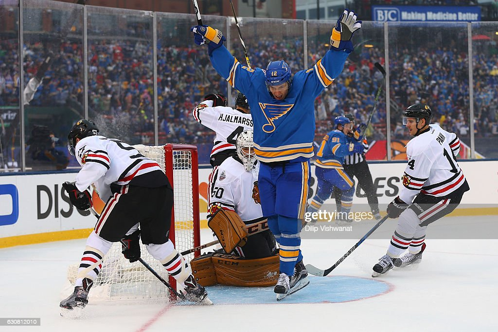 Jori Lehtera #12 of the St. Louis Blues celebrates after the Blues scoried a goal against the Chicago Blackhawks during the 2017 Bridgestone NHL Winter Classic at Busch Stadium on January 2, 2017 in St. Louis, Missouri.