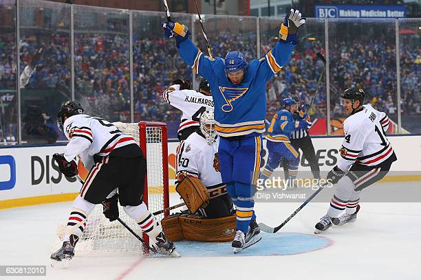 Jori Lehtera of the St Louis Blues celebrates after the Blues scoried a goal against the Chicago Blackhawks during the 2017 Bridgestone NHL Winter...
