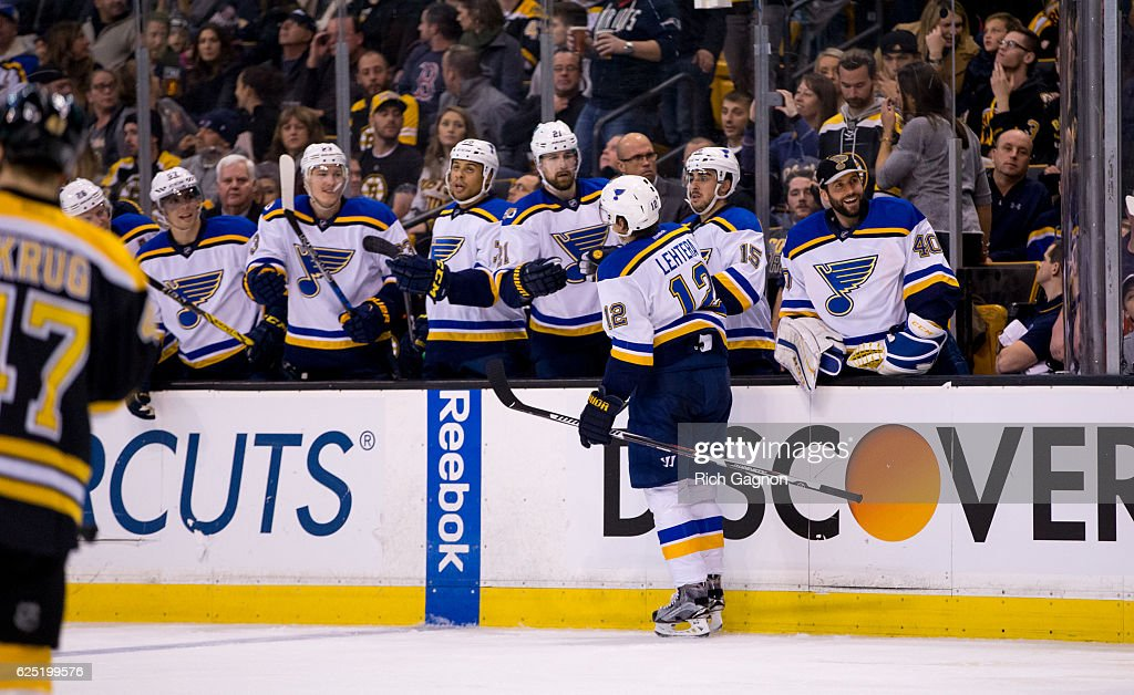Jori Lehtera #12 of the St. Louis Blues celebrates his goal with his teammates against the Boston Bruins during the second period at TD Garden on November 22, 2016 in Boston, Massachusetts. The Blues won 4-2.