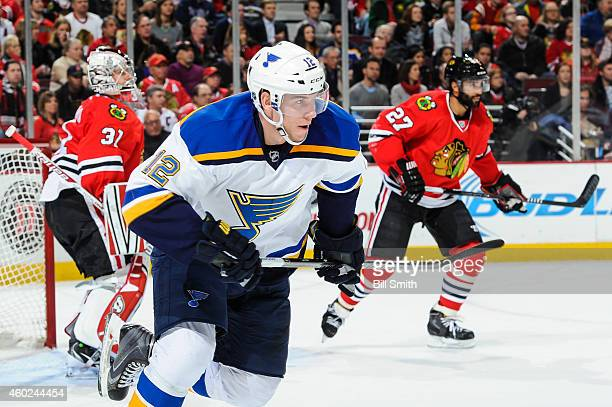 Jori Lehtera of the St. Louis Blues skates up the ice during the NHL game against the Chicago Blackhawks at the United Center on December 3, 2014 in...
