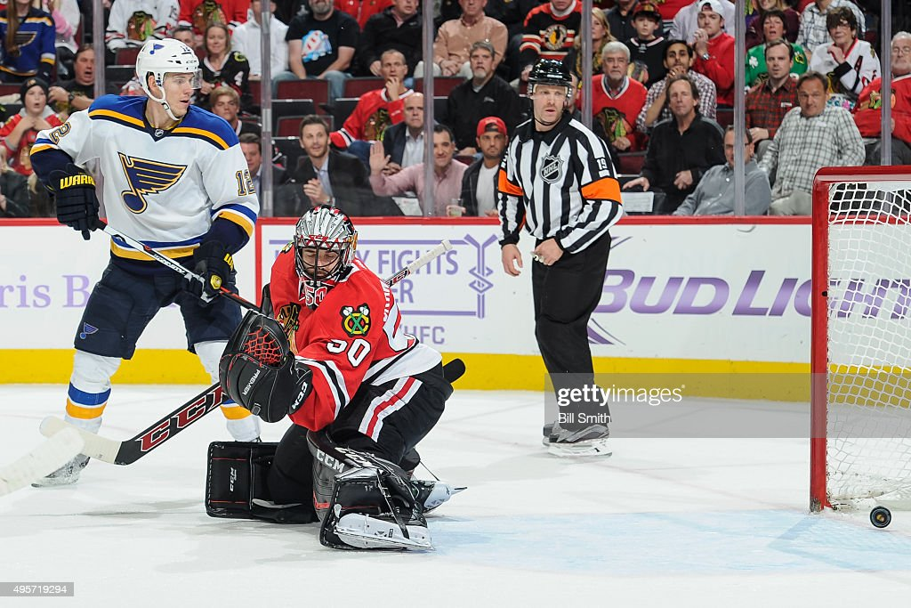 Jori Lehtera #12 of the St. Louis Blues watches as the puck gets past goalie Corey Crawford #50 of the Chicago Blackhawks for a goal in overtime of the NHL game at the United Center on November 4, 2015 in Chicago, Illinois. The St. Louis Blues defeat the Chicago Blackhawks 6 to 5.