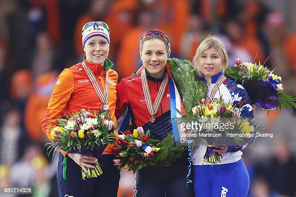 Jorien ter Mors of Netherlands Karolina Erbanova of Czech Republic and Olga Fatkulina of Russia pose during the Ladies Sprint final classification...
